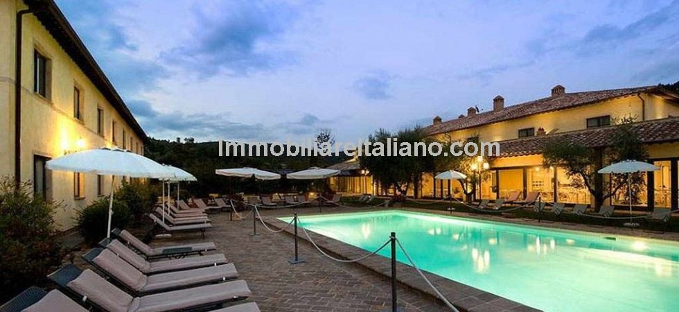 Luxury boutique hotel for sale near to Perugia in Umbria. 52 bedrooms with bathroom. Spa wellness centre, meeting rooms with offices, bar, breakfast room and restaurant. Gardens with swimming pool.