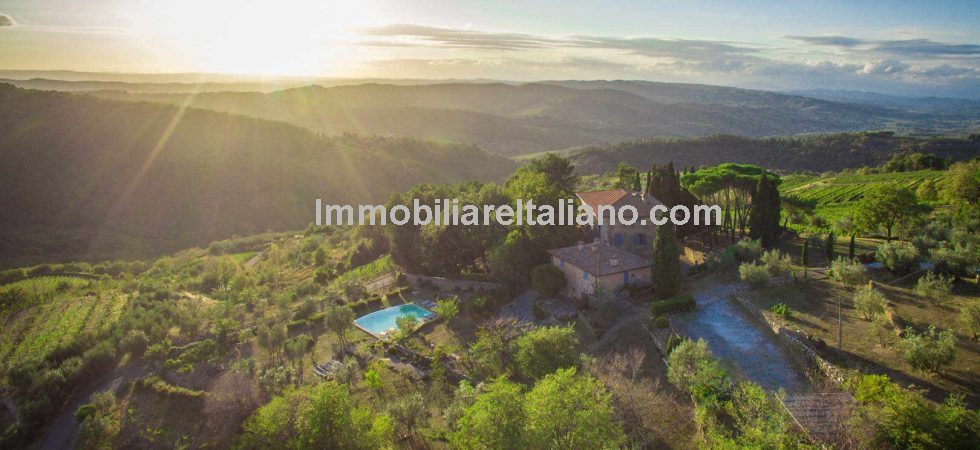 Chiantishire property with Vineyard for sale. 19th century villa with dependence and pool. With up to 16 bedrooms ideal for accommodation and wine business activity.