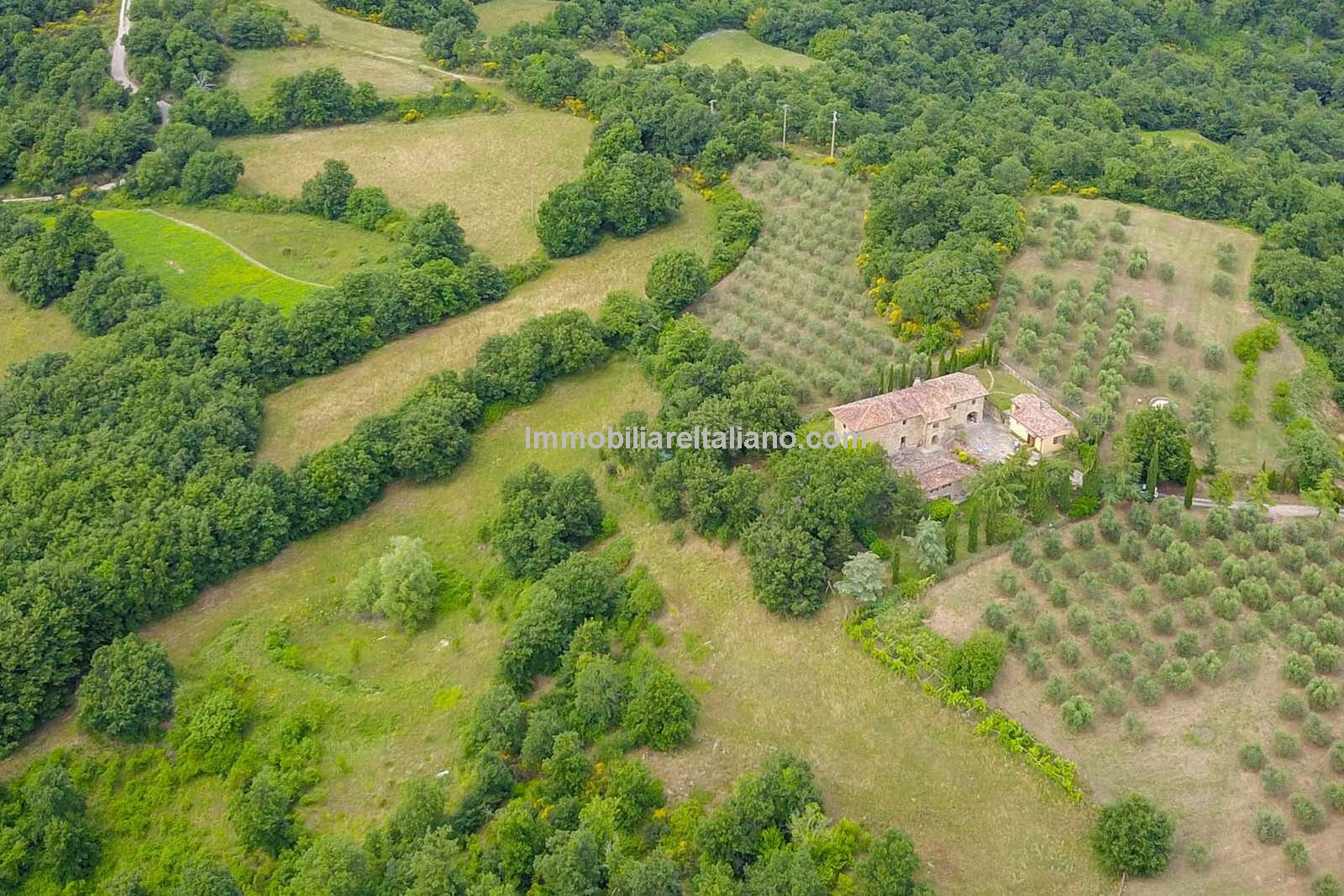 Aerial view of renovation property in Tuscany Italy