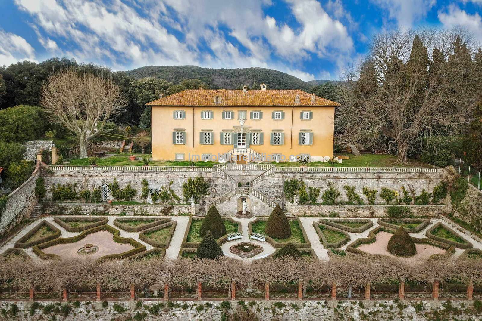 Aerial view of Luxury Historic and Palatial Italian Property for sale Lucca Tuscany.