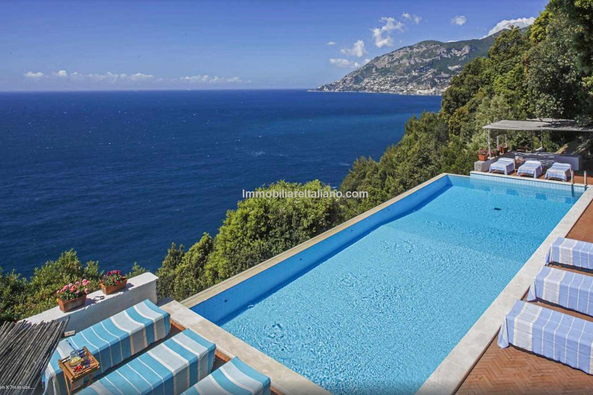 pool view of Amalfi coast villa for sale