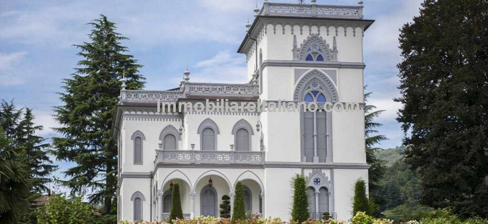 Stylish living is offered in this superb Lake Maggiore view villa for sale, built in the early 1900's in Neo-Gothic and Art Nouveau architectural style. Easy road connections to Milan, Como, Lugano and Turin and Milans Malpensa airport.