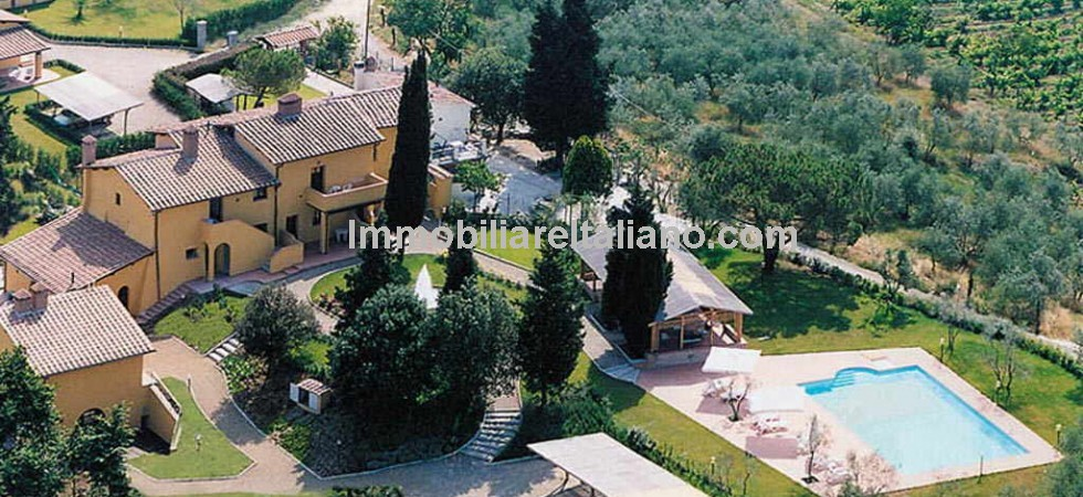 Near to Florence in Tuscany, Commercial opportunity with expansion potential. This exclusive property consists of a Seventeenth Century Villa and three farmhouses, currently running as Agriturismo, gardens 2 swimming pools and 13.4 hectares of land. 5.2 hectares as vineyard and 2.6 hectares as olive grove.