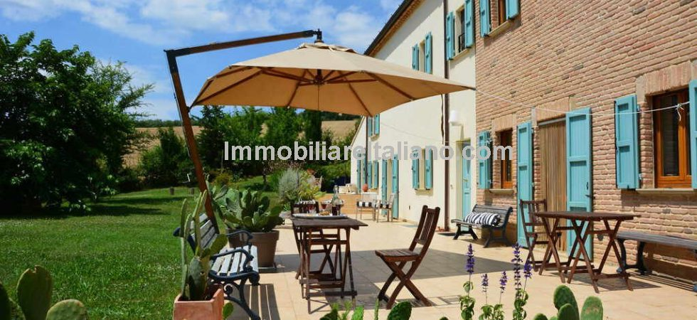 San Costanzo property in the heart of Le Marche. With a hillside panoramic position and not far from the Adriatic Coast is this recently rebuilt independent farmhouse for sale.