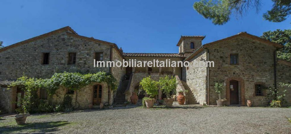 Business for sale in Tuscany Italy comprising hamlet with organic winery, Agriturismo, restaurant, vineyard and olive grove. Villa, farmhouses and outbuildings. 165 hectares of land.