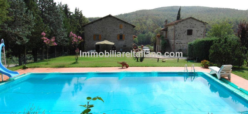Two restored Tuscan farmhouse properties with swimming pool and land at a bargain price. Near to Anghiari, ideal for extended family or home and income.