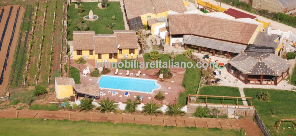 Sardinia home and business property opportunity at a very good price. Agriturismo with restaurant, pool, park, recreation ground, orchard, golf course