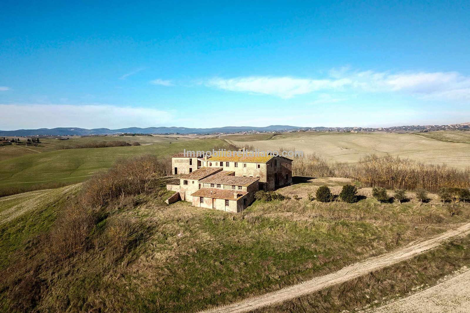 Aerial view of Country house for sale in Tuscany near Siena