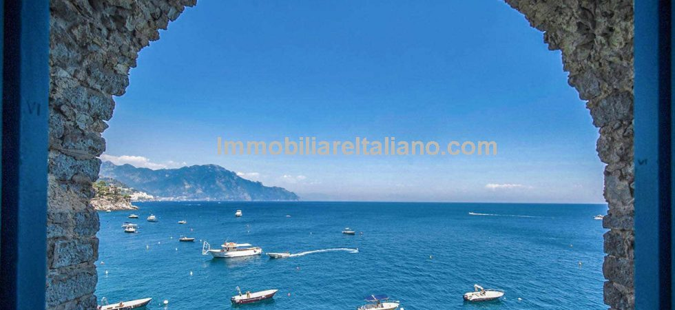 Luxury frontline villa for sale - Amalfi Coast. Perched on a cliffside, in the small town of Conca dei Marini, 8 bed luxury villa, panoramic terrace, direct access to the sea.