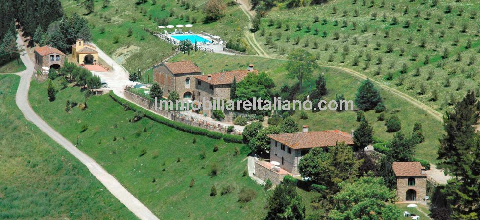 An exceptional Italian commercial property opportunity. A superb Tuscan estate for sale near to Florence in the Chiantyi region with 2 restored hamlets and vineyard, working as winery, olive oil production and Agriturismo.