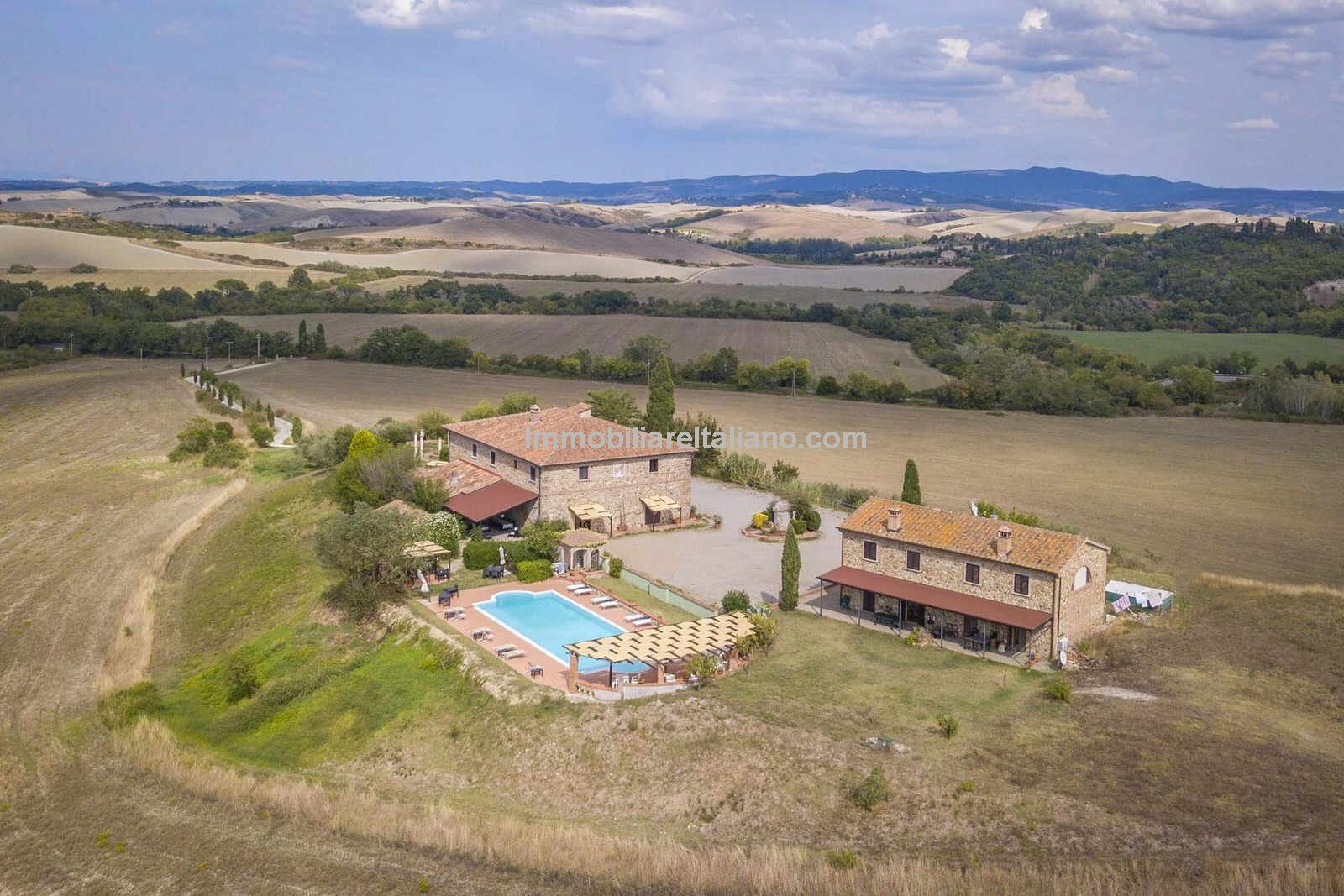 Aerial view of Tuscan farmhouse hotel