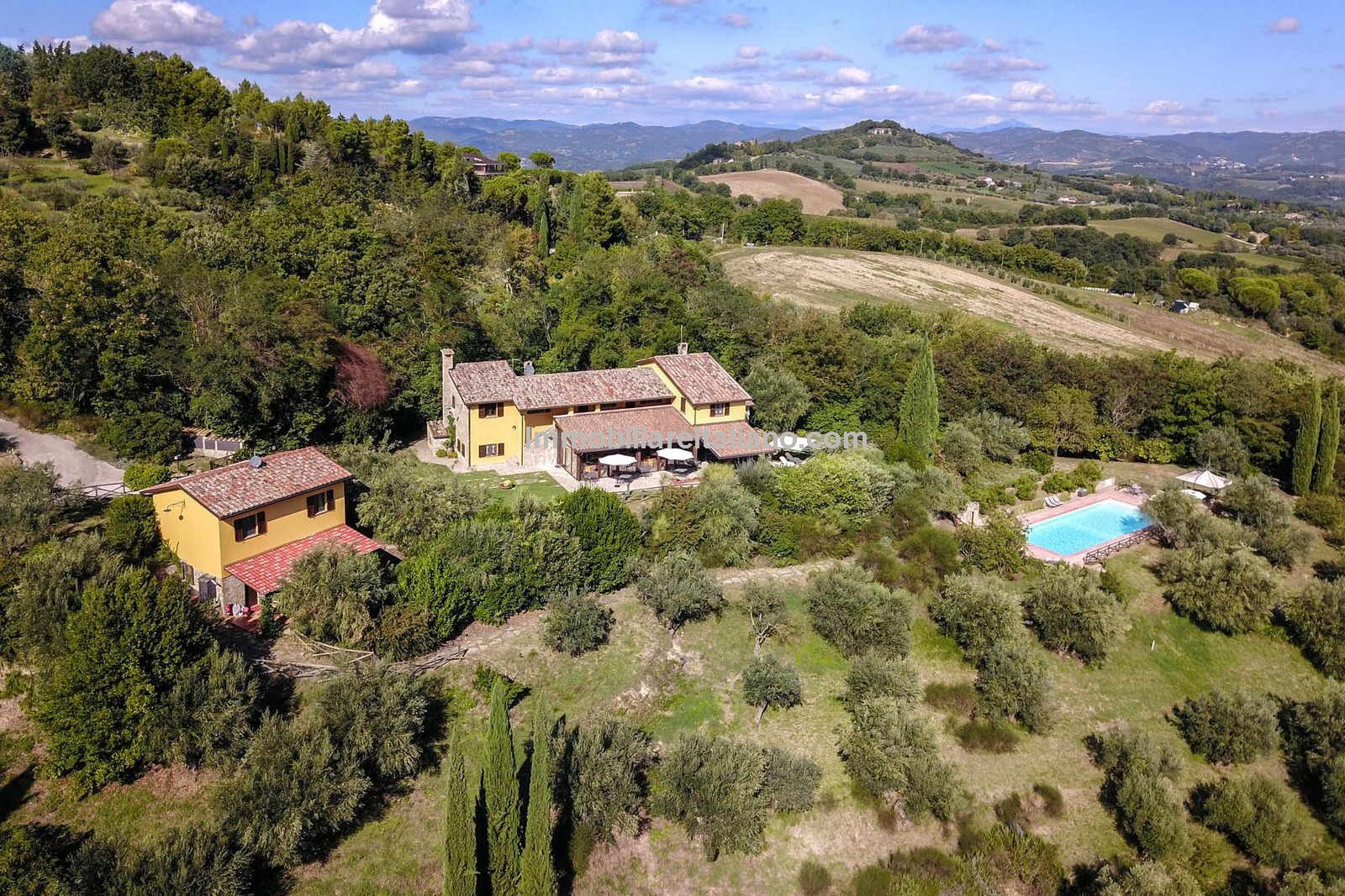 Aerial view of Agriturismo business for sale