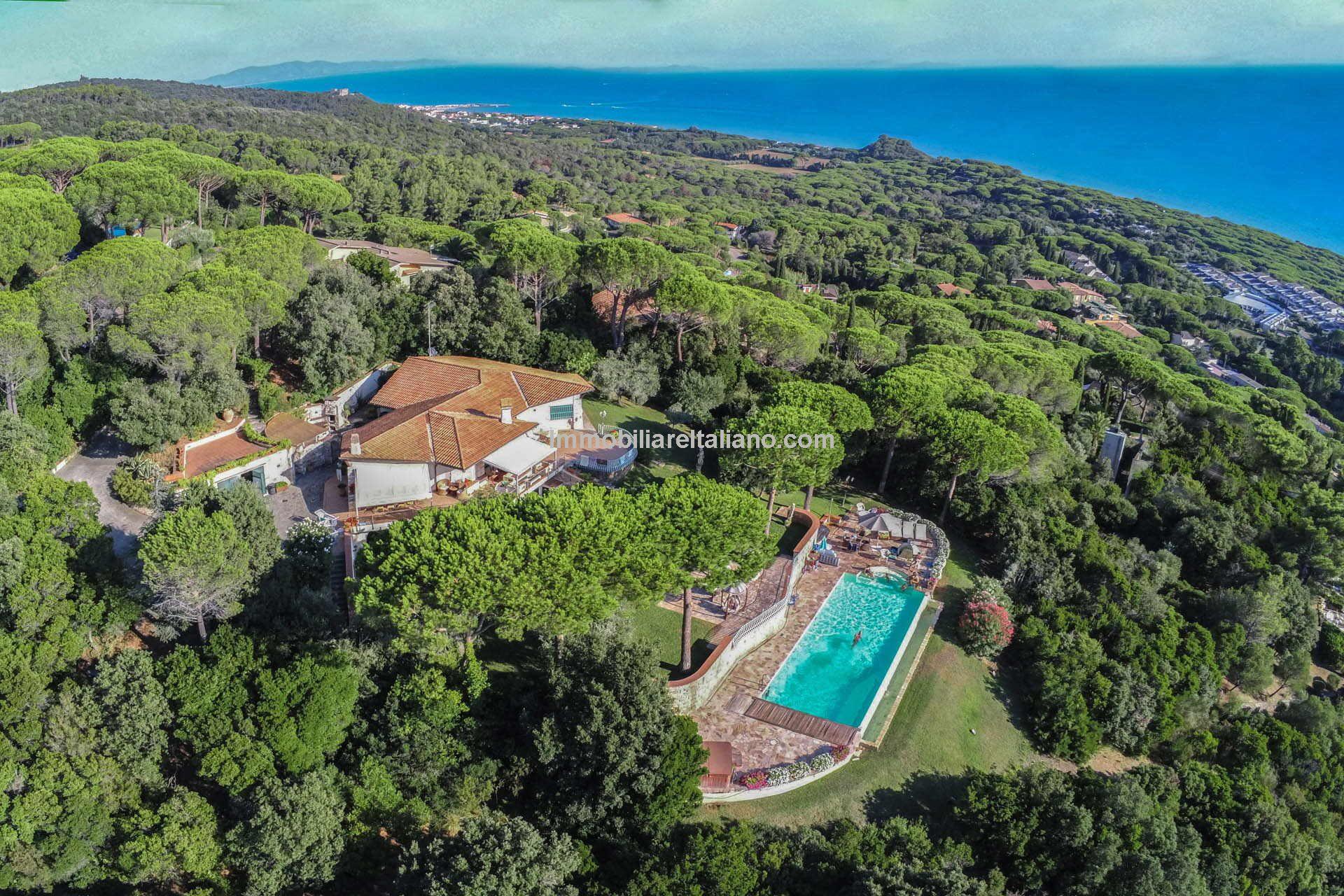 Sea views are free with this Italian seaside villa for sale near Castiglione della Pescaia in Tuscany.