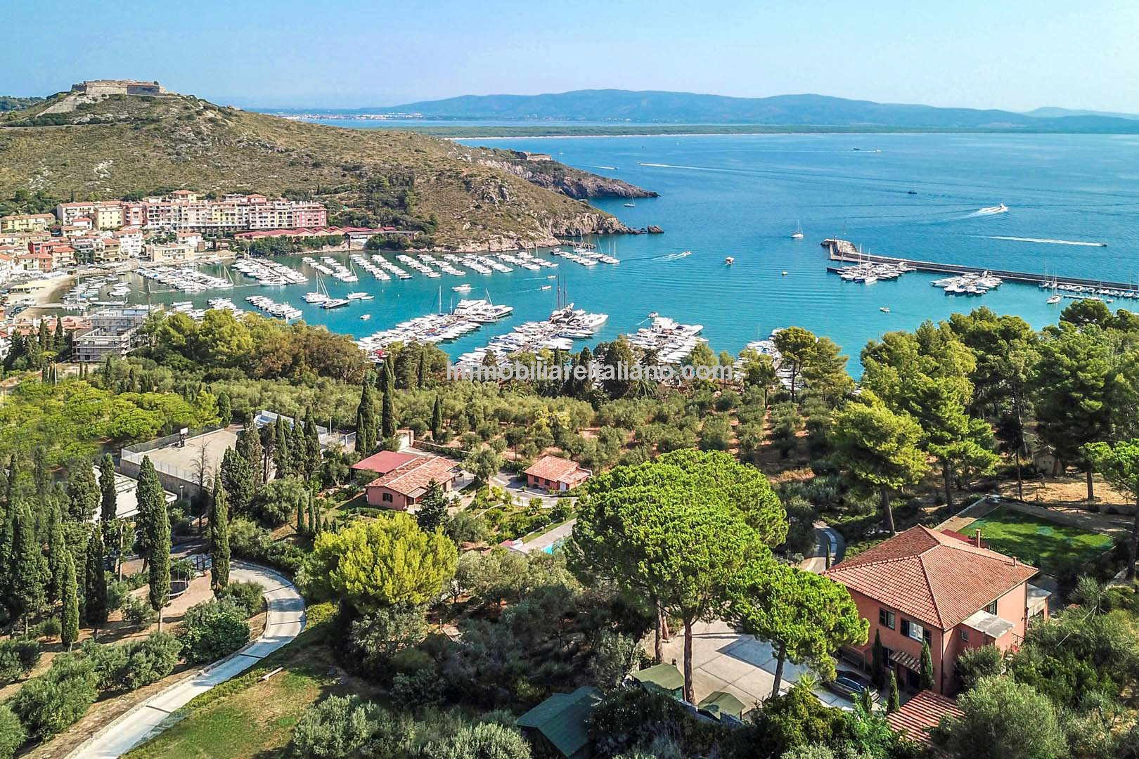 aerial view of Tuscan Luxury coastal villa with sea views for sale