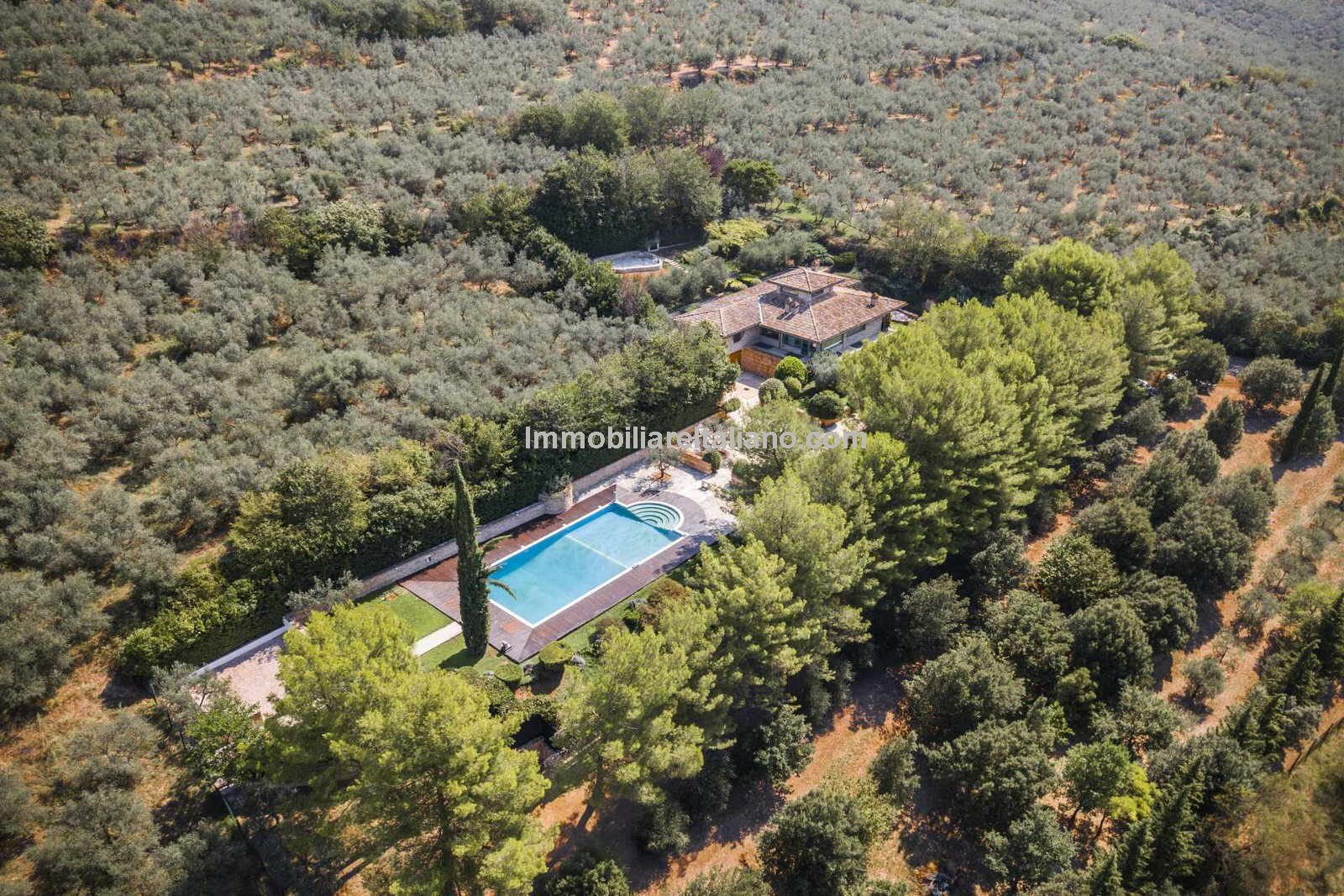 Aerial view of Italian villa for sale