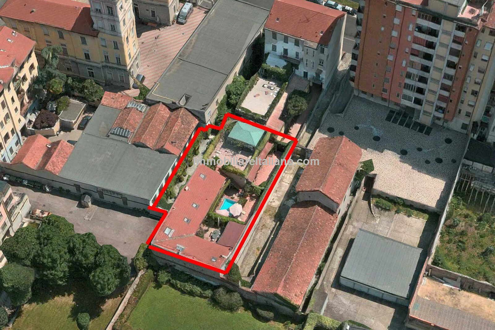 aerial view of Milan villa property for sale