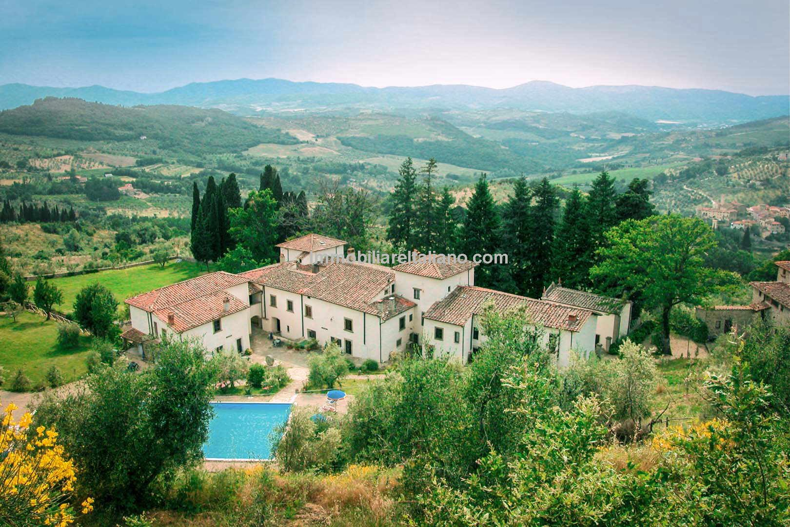 Aerial view of Tuscan Organic farm and agriturismo for sale