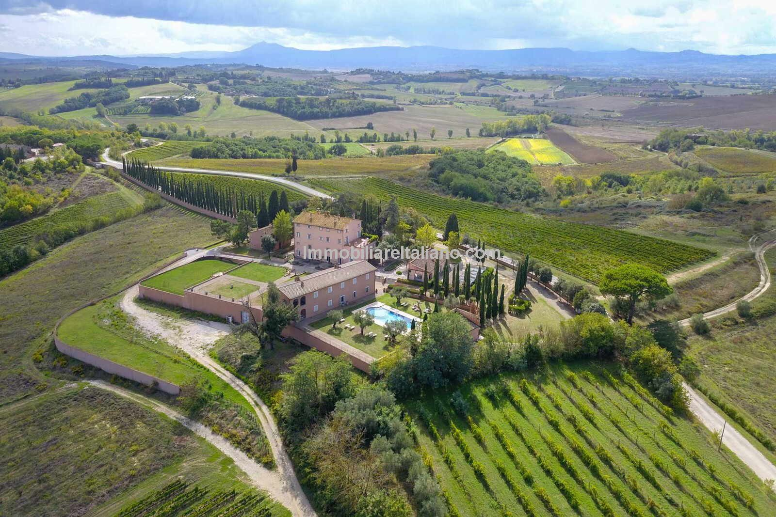 Aerial view of Tuscan Wine estate and buildings