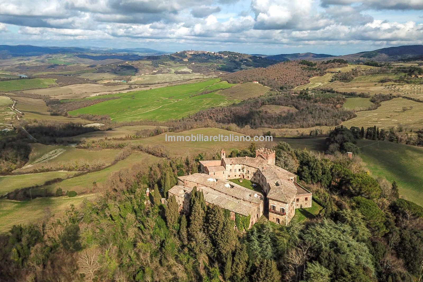 Aerial view of Tuscan estate for sale