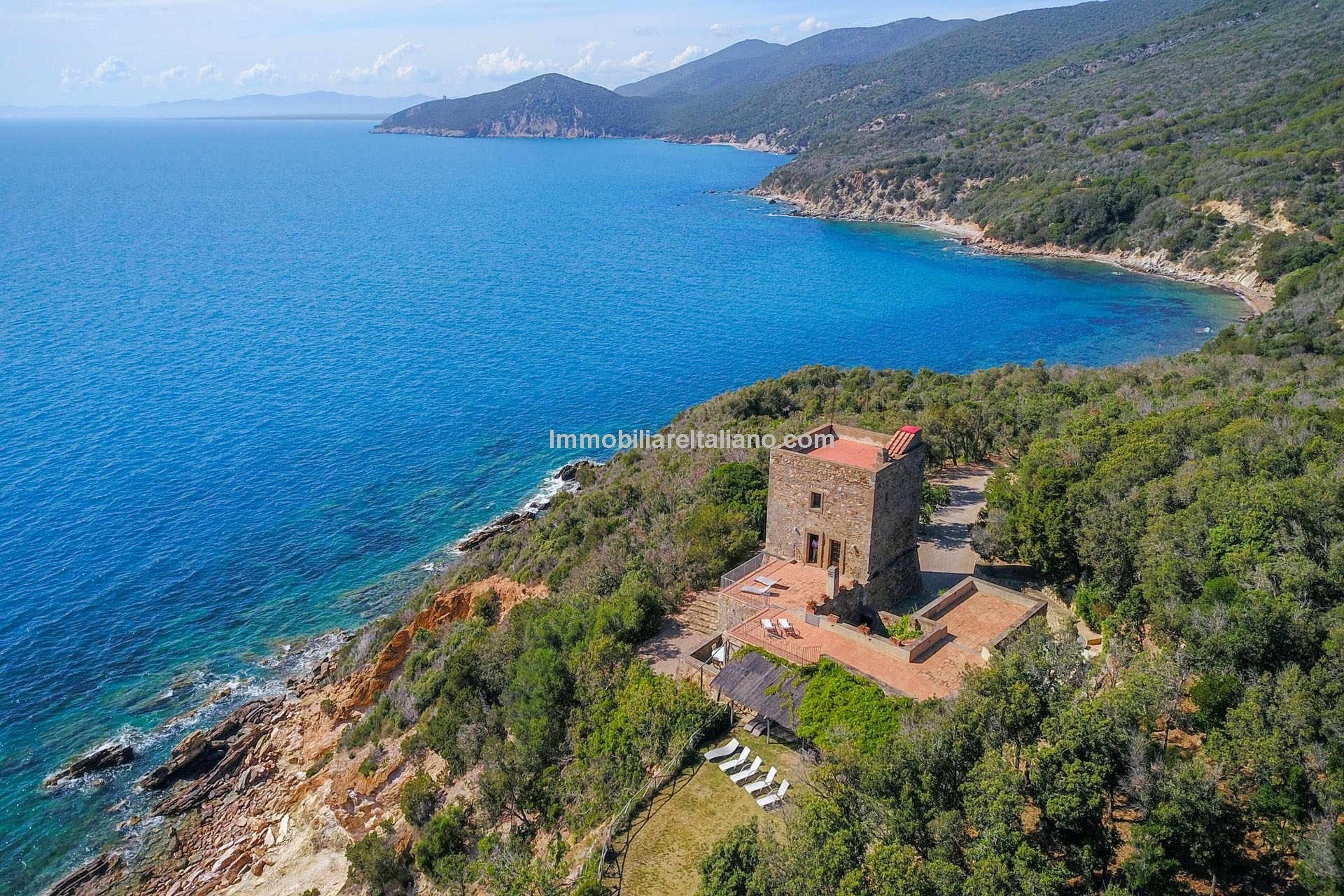 Aerial view o castle villa property and sea view