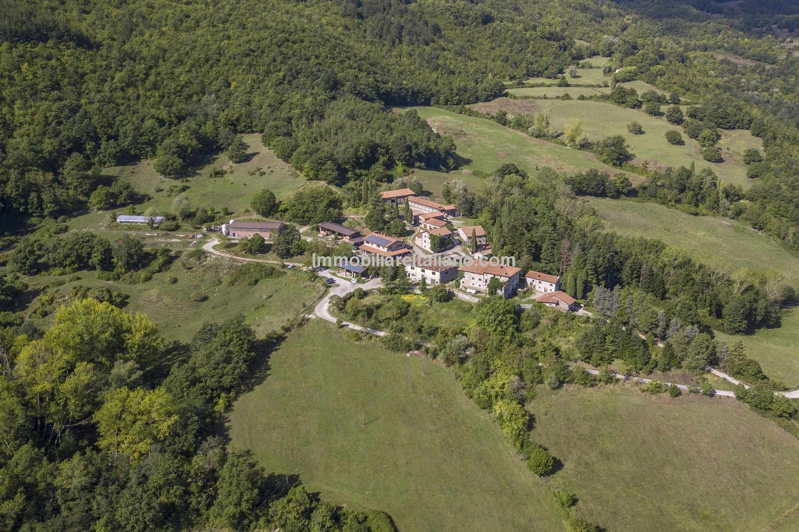 Aerial view of Italian farm hamlet for sale
