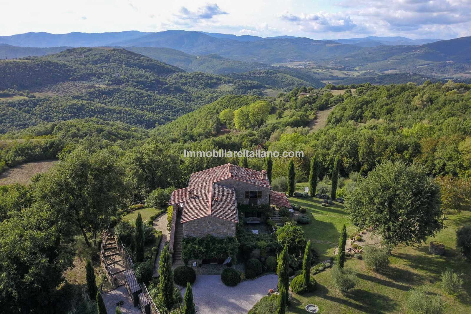 Aerial view of lovely home in the country